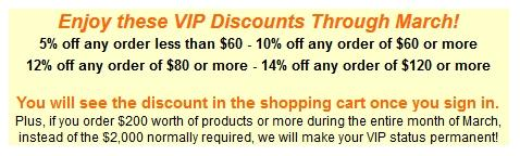 Enjoy these VIP Discounts Through March